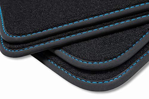 teileplus24 V255 Velours Fußmatten, passgenaue Fertigung, Trittschutz auf der Fahrer Fußmatte, Nubuk Bandeinfassung, Ziernähte, Naht:Blau