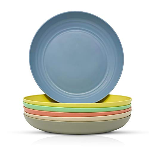 Bamboo Fiber Plastic Plates Set - Durable, Reusable, Food-Grade Dinner Plates - Dishwasher & Microwave Safe Dinnerware - Kids Plates Suitable for Home, Outdoor, Picnic, Party Use - Dish Set for 6