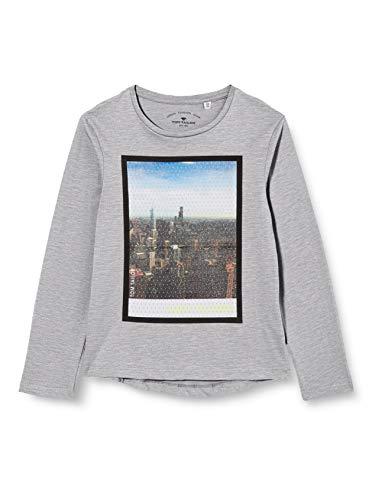 TOM TAILOR Jungen Langarmshirt T-Shirt, Drizzle Melange|Gray, 164