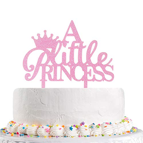 A Little Princess Crown Cake Topper, Baby Shower, Gender Reveal,Girl's first second third Birthday Party Decorations (Pink Glitter Acrylic)