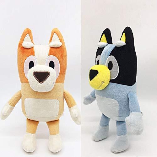 YXYL MuñEco Juguete De Peluche 2 Piezas 28 cm Nuevo Dibujo Animado Anime Azul Bingo Peluche Suave el Perro Juguetes de Peluche Regalos para niños