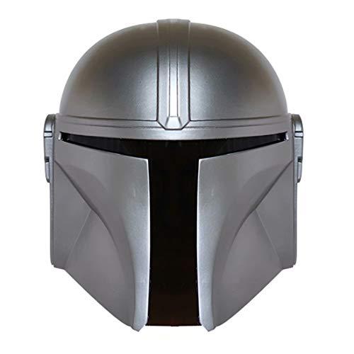 Casco Mandalorian, máscara de PVC Boba Fett de cabeza completa, casco de lujo para Halloween, cosplay, accesorios para disfraz de adulto, color plateado, negro