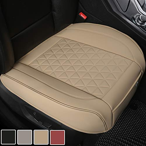 Black Panther Luxury PU Leather Car Seat Cover Protector for Front Seat Bottom,Compatible with 90% Vehicles (Sedan SUV Pickup Van), Triangle Quilted Design - 1 Piece,Beige (21.26×20.86 Inches)