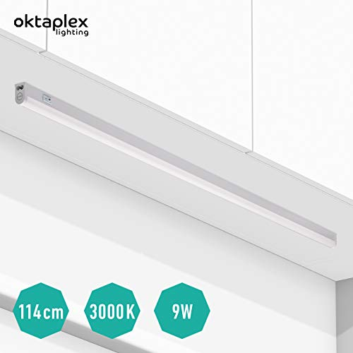 Oktaplex lighting LED Unterbau-Leuchte mit Schalter Riga 114cm I Praktische Unterschrank-Beleuchtung Lichtröhre 18W 1620lm Blendfreie Helle Küchen-Beleuchtung LED Leiste Warmweiß 3000K erweiterbar
