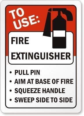 WENNUNA Home Decor Teken te gebruiken Brandblusser Pull Pin Doel bij Base Fire Squeeze Handvat Sweep Side to Metal Sign Outdoor Indoor Gebruik Gemakkelijk te Monteren9 in x 12 in