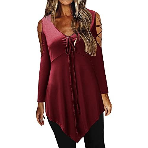 Camiseta de manga larga irregular de las mujeres atractivas del hombro de las correas del color sólido, Vino Tinto, M