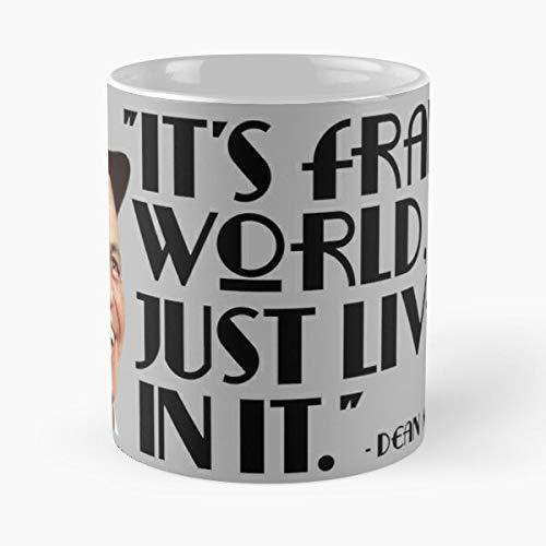 It's Frank's World Sinatra Quote by Dean Martin - Taza de cerámica de mármol, color blanco