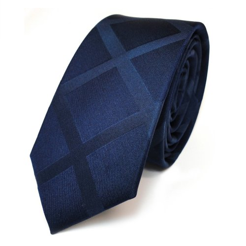 TigerTie - schmale Designer Seidenkrawatte in blau dunkelblau schwarzblau kariert - Schlips in schmaler Ausfertigung