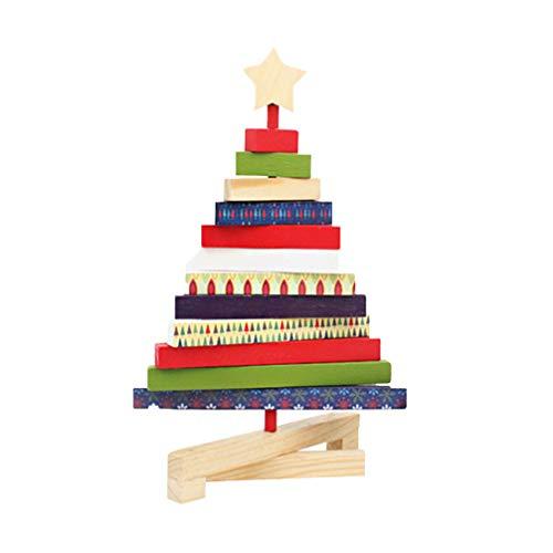 Amosfun - Albero di Natale in Legno per scrivania, Decorazione per Ufficio, Negozio, casa