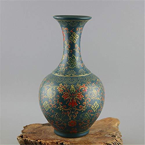 Jingdezhen Antieke Emaille Vaas Yong Zheng Groen Glas met Bloemenpatroon Imitatie van Oude Porselein Kiln