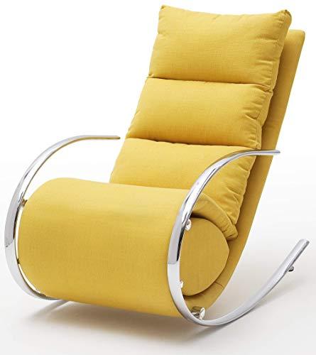 Robas Lund Relaxsessel Relaxliege Wohnzimmer Schaukelstuhl York, Webstoff Gelb