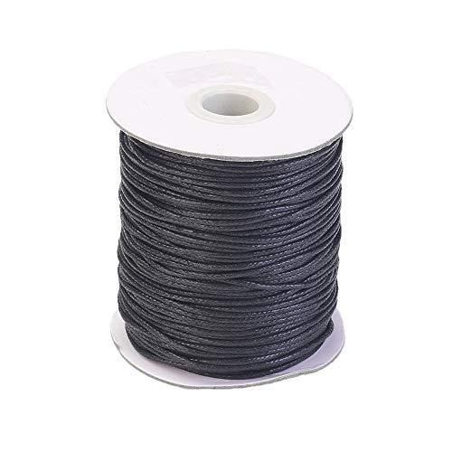 Pandahall cuerda trenzada de algodón encerado de 1,5 mm para manualidades con macramé, hilo con carrete (negro)