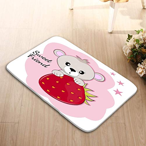 Bikofhd Home Decorator Floor Mat Non-Slip Carpet 23.6x15.7 Sweet Cartoon Teddy Bear Sitting Behind Strawberry ki