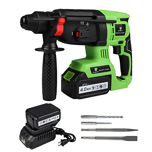 LETTON 21V Cordless SDS Plus Rotary Hammer Drill, 1 inch Brushless Demolition Hammer with Two 4.0Ah Battery, Charger, Dirll Bits, Point/Flat Chisels