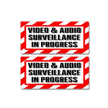 Graphics and More Video & Audio Surveillance in Progress Sign - Alert Warning - Set of 2 - Window Business Stickers
