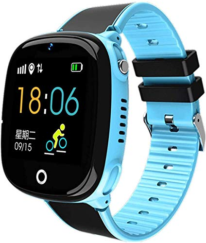 ZHENAO Smart Watch, Gps Smart Watch Niños Regalo Bluetooth Podómetro Smart Watch Dispositivo Portátil Impermeable Sos Call Kids Watch Fácil de Usar-Azul El mejor regalo/Azul