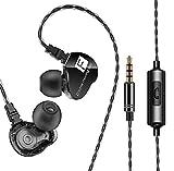 QKZ CK9 - Auriculares in-ear resistentes al agua IPX4, 96 dB, Hi-Res, audio deportivo, micrófono HD, doble unidad driver extra bajo (negro)