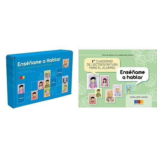 Editorial GEU Enséñame a hablar / Aprendizaje del lenguaje / Mejora la comprensión / Con tarjetas ilustradas + Cuaderno de lectoescritura para el alumno /