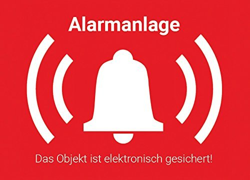 5 Stück, Alarm Aufkleber Sticker außen, Warnaufkleber Alarmanlage mit UV-Schutz, Aussenklebend, Objekt alarmgesichert, Hinweis Alarmanlage als Einbruchschutz für Fenster, Haus, Kellerfenster, KFZ um Einbrecher abzuschrecken, TOP Fensterfolie