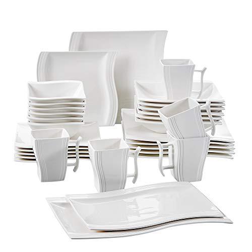MALACASA, Serie Flora, 32 TLG. Cremeweiß Porzellan Geschirrset Kombiservice Tafelservice mit je 6 Schalen, 6 Dessertteller, 6 Suppenteller, 6 Speiseteller, 2 Rechteckigen Platten und 6 Becher