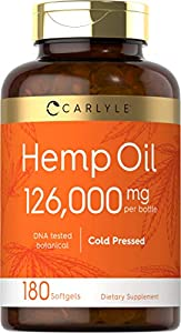 Hemp Oil Capsules | 126,000 mg Per Bottle | 180 Softgels | Max Potency | Non-GMO, Gluten Free | Cold Pressed Supplement from Hemp Seeds | by Carlyle