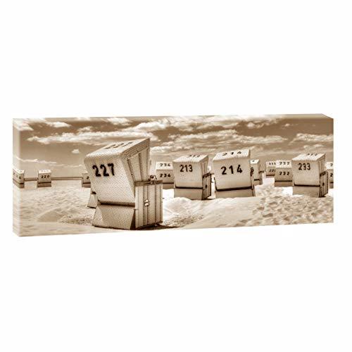 Querfarben Bild auf Leinwand mit Landschaftsmotiv Strandkörbe in SPO | 150 x 50 cm, Farbig, Wandbild, Leinwandbild mit Kunstdruck, Nordseebild mit Strandmotiv auf Holzrahmen gespannt, 50x150 cm
