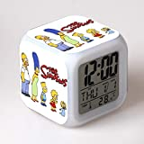 Alarm Clock The Simpsons The Simpsons American Movies Assen a Colorful LED Light Small Alarm Clock,12 Suitable for Home Interior, Children's Room, Birthday