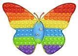CRAZYCHIC - Pop It Gigante con Dados Fidget Toys - Popit XXL Grande Push Bubble Juguetes Niños Barato - Juegos Antiestres Dice Game Hijos Adultos - Burbujas Multicolor Arco Iris Regalo - Mariposa