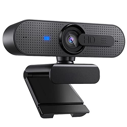 ASHU 1080P HD Webcam mit Objektivdeckel, Streaming Webkamera mit Autofokus/Stereo Mikrofon für Computer, Skype, Video Chat und Aufnahme, Schwarz