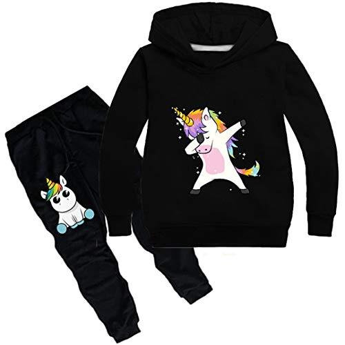 Silver Basic Unisex Einhorn Jogginganzüge Mädchen Baumwolle Fun-Bekleidung Kinder Kapuzenpullover & Hosen Sets Jungen Langarm Hoodie (150 (Höhe 125-135cm), Black)
