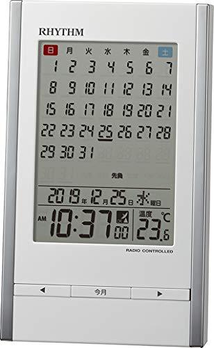 リズム(RHYTHM) 置き時計 白 15x9.1x5cm 目覚まし時計 電波時計 カレンダー 温度計 アラーム 8RZ210SR03