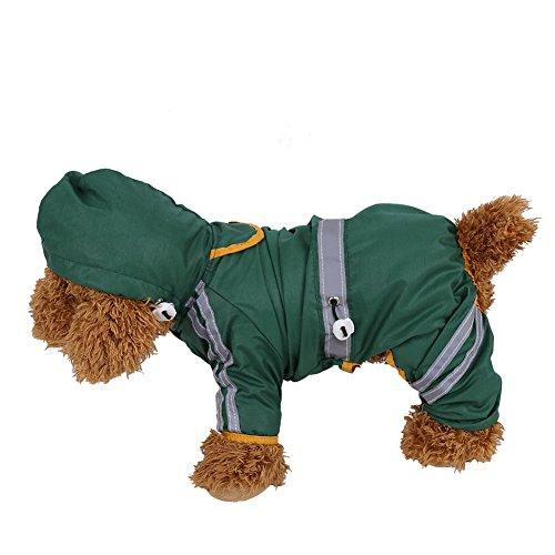 Pet Regenmantel, wasserdicht Jacke Katze Hund Kapuze Regenmantel reflektierende Jumpsuit Apparel (Grün L)