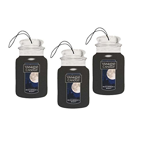 Yankee Candle 3pc Classic Paper Car Jar Hanging Odor Neutralizing Air Freshener, MidSummer's Night