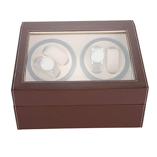 Uhrenbeweger, Uhrenbeweger, Automatischer doppelter Uhrenbeweger, Aufbewahrungsgehäuse für Uhren, ruhiger Motor, mehrfache Rotation (UK-Stecker)(Brown+EU Plug)