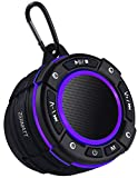 Zermatt IPX7 Waterproof Portable Wireless Bluetooth Speaker with Light Show,Suction Cup & Sturdy Hook,Lound HD Sound,TWS Stereo Pairing,Bluetooth 5.0,Perfect for Camping,Beach,Sports,Pool,Shower-Black