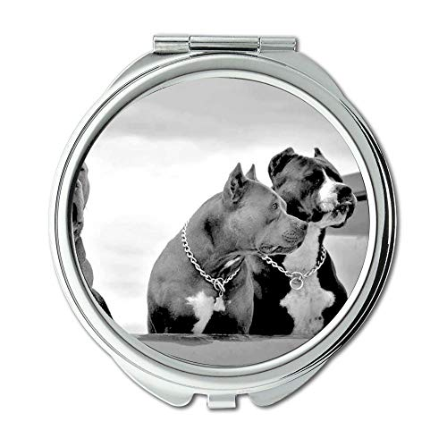 Yanteng Spiegel, Travel Mirror, Animal Bull Terrier Hunde Pitbull Hund, Taschenspiegel, 1 X 2X Lupe