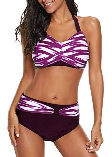 Achruor - Bikini da donna con allacciatura al collo, 2 pezzi, costume da bagno con vita alta, push up Lilla L (44-46)