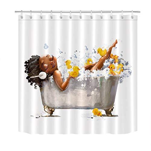 123456789 Afro Afrikaanse Zwarte Vrouw Leuke Eend Waterdichte Stof Douchegordijn Set Badkamer