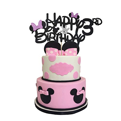 Glitter Minnie Inspired Happy Birthday 3rd Cake Topper, Minnie Cake Topper 3 Year Old with Pink Bow Tie for Minnie Themed Baby Girls Kids Third Birthday Party Cake Supplies Decoration (Double-sided)