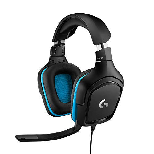 Logitech G432 Cuffie Gaming Cablate, Audio Surround 7.1, Cuffie DTS: X 2.0, Driver Audio 50 mm, ‎Jack Audio USB 3.5 mm, Microfono Flip-to-Mute, Leggere, PC/Mac/Xbox One/PS4/Nintendo ‎Switch, Nero/Blu