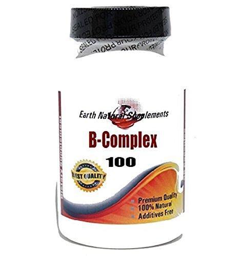B-Complex 100 Vitamin* 100 Caps 100 % Natural - by EarhNaturalSupplements