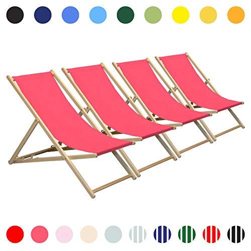 Harbour Housewares Holz-Liegestuhl für den Garten oder Strand - traditionelles Design - verstellbar - klappbar - Pink - 4 Stück