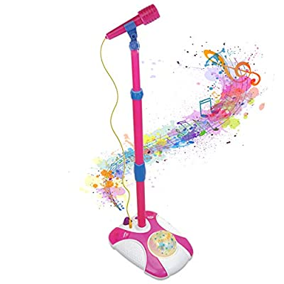 Karaoke Disco Light Adjustable Mic & Speaker Stand! Includes 12 pre-Loaded Popular Songs and Connects to iPods, Smartphones & MP3 Players (Pink) from IQ Toys