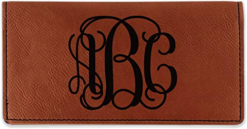 Interlocking Monogram Leatherette Checkbook Holder - Double Sided (Personalized)