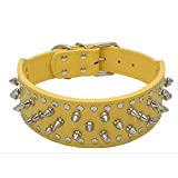 Avenpets 20-26' Length 2' Width Spike Rivets Leather Dog Pet Collars for Pitbull Mastiff Boxer (Yellow,S)
