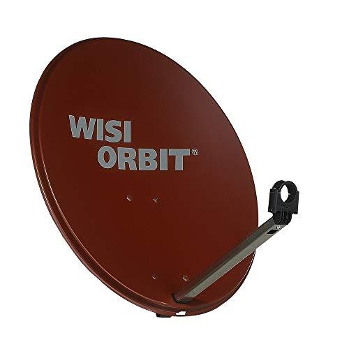WISI Orbit Line Satelliten Offset-Antenne OA36I in Rotbraun – 60cm Reflektor mit 40mm LNB-Halterung, Feedarm und Mastschellen – Komplette Sat Antenne mit Montagezubehör