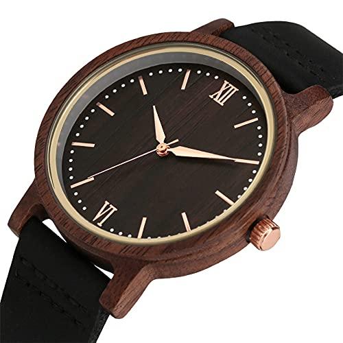 GIPOTIL Reloj Femenino de Madera de Nogal marrón café Reloj de Pulsera de Cuarzo para Mujer con Pantalla analógica de Oro Rosa de Moda RelojesCasuales de Cuero, 1