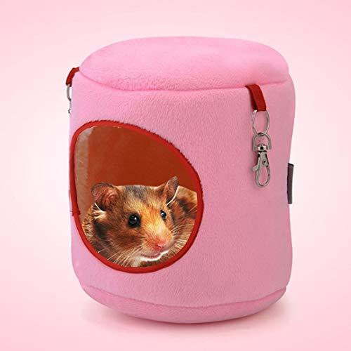 Tuzi Qiuge Hängendes Bett mit Haustier, Flanell-Zylinder-Haustierhaus warme Hamster-Hängematte (Color : Pink)