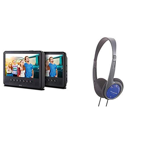 Odys Seal 7 Pro tragbarer DVD-Player ((17,8 cm (7 Zoll) Digitales Panel, USB) Autopaket, Fernbedienung, schwarz & Panasonic RP-HT010E-A Bügelkopfhörer (1,2m Kabellänge) blau