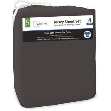 Mainstays Jersey Knit Sheet Set Rich Black, Queen